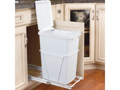 Pull Out Waste Container With Lid 35 Quart
